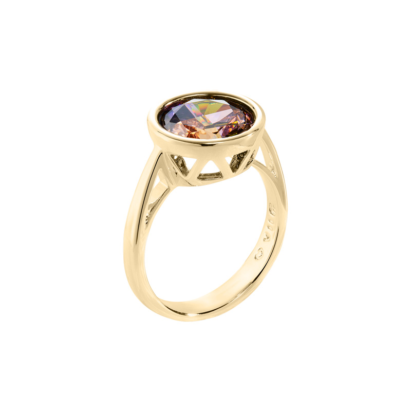 LUMINOUS Rings, gold plated, multicolor