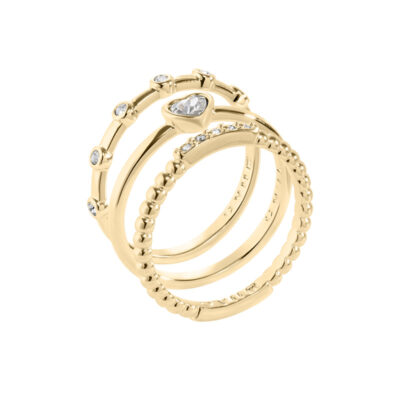 TRUE LOVE Rings, gold plated, cystal coloured