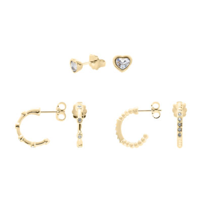 TRUE LOVE Earrings, gold plated, cystal coloured
