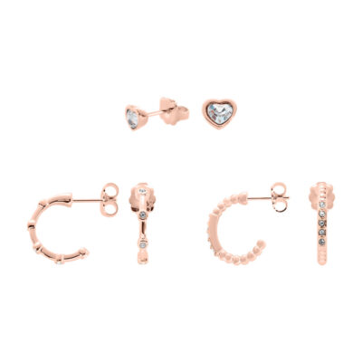 TRUE LOVE Earrings, rose gold plated, cystal coloured