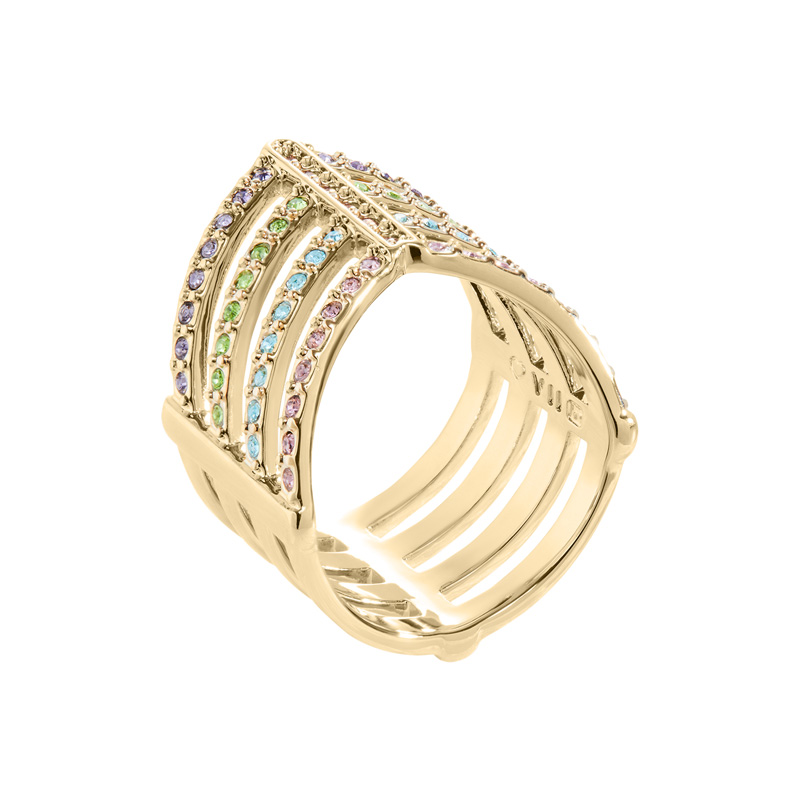 AMAYA Rings, gold plated, multicolor