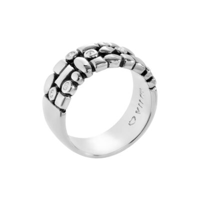 TRACE Rings, antique rhodium plated, cystal coloured